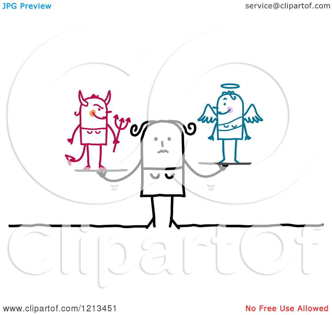 Clipart Of A Stick People Woman With Good And Bad Conscience Royalty Free Vector