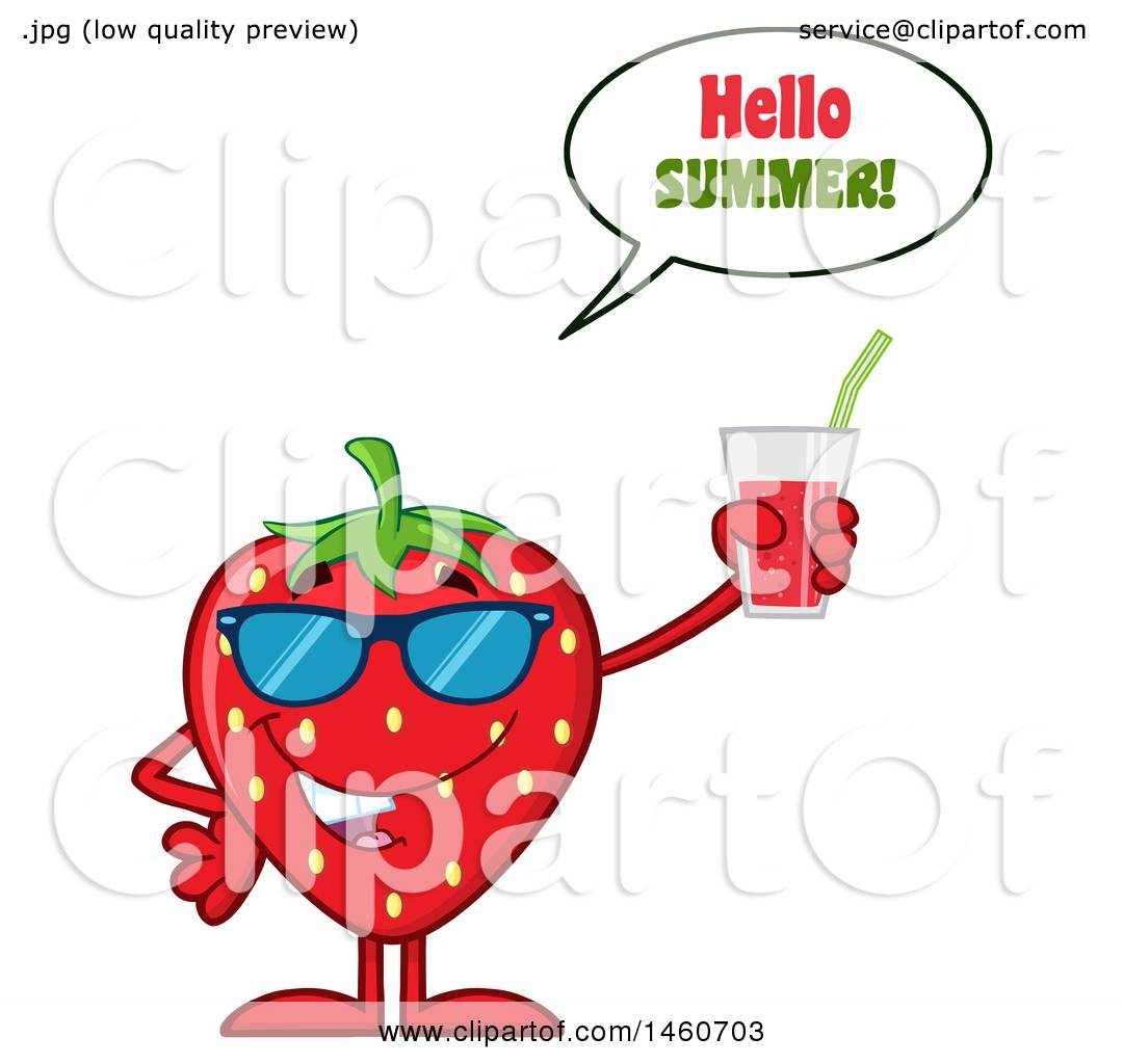 Clipart Of A Strawberry Mascot Character Wearing Sunglasses, Saying Hello  Summer, And Holding A Glass Of Juice   Royalty Free Vector Illustration By  Hit ...