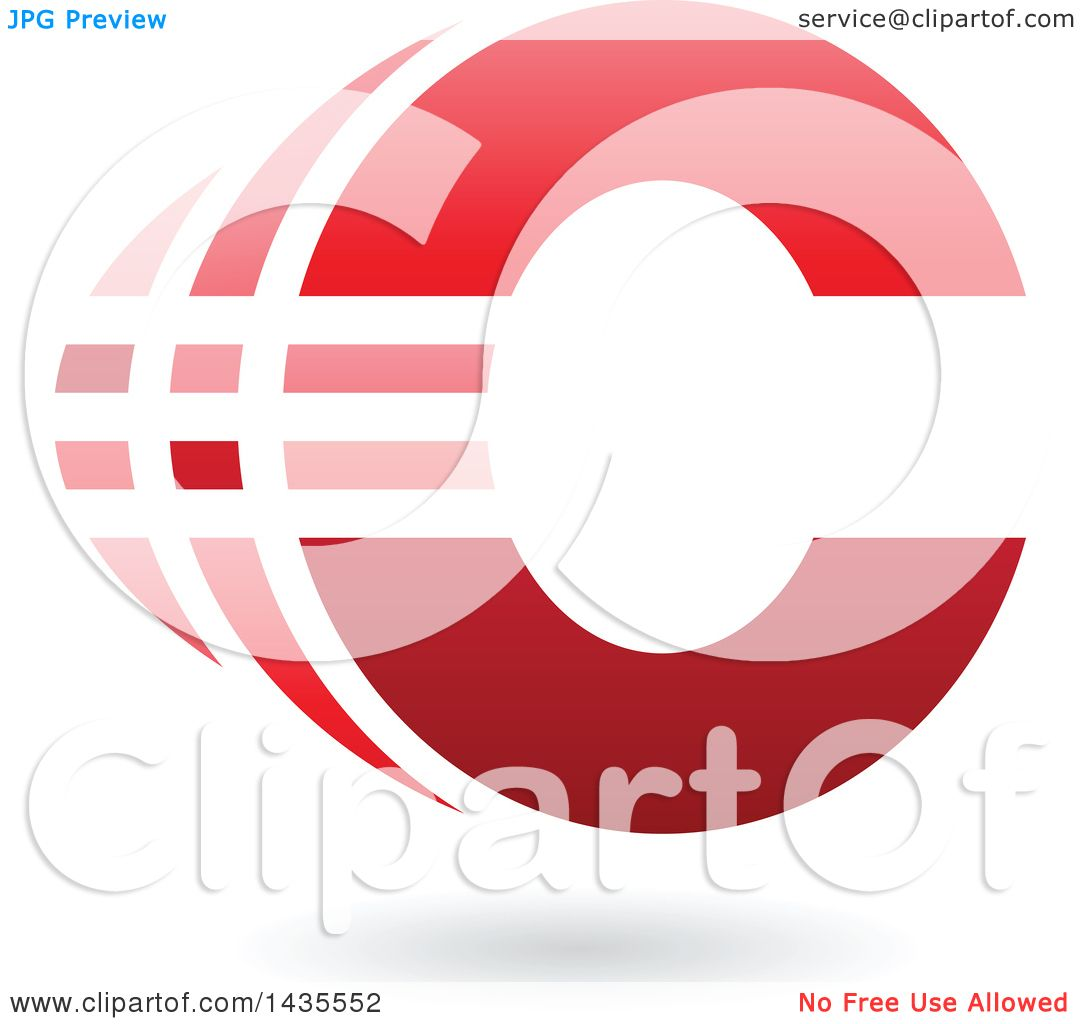 Clipart Of A Striped Letter C Design With A Shadow