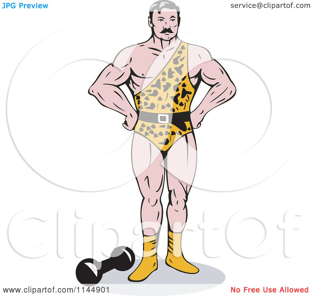 Clipart of a Strong Man in a Leopard Uniform - Royalty Free Vector ...