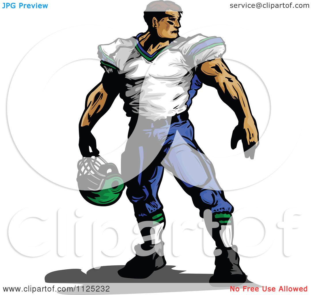 Clipart Of A Strong Muscular Male Football Player Holding