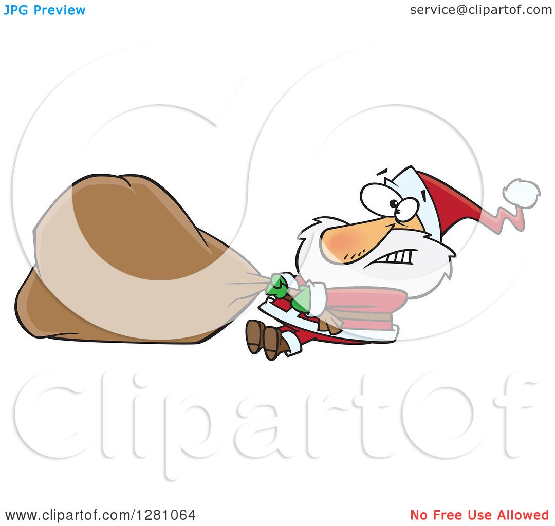 73f03794279b8 Clipart of a Struggling Santa Clause Pulling a Heavy Christmas Sack - Royalty  Free Vector Illustration