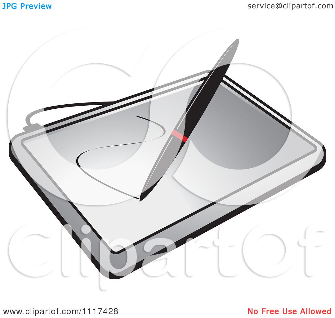 Clipart of a stylus pen drawing on a computer graphics tablet royalty free vector illustration Good computer drawing programs