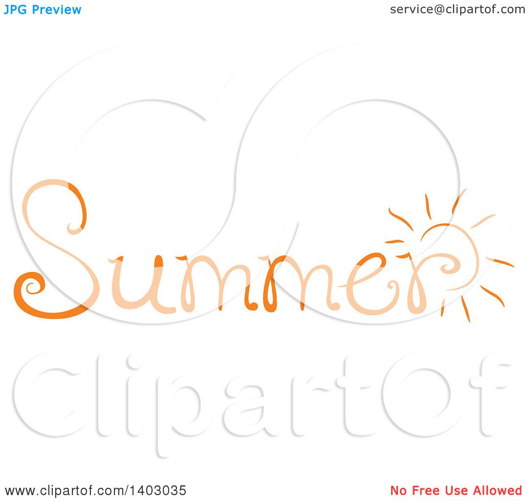 Clipart of a Summer Word Seasonal Design in Orange, with a ... (1080 x 1024 Pixel)