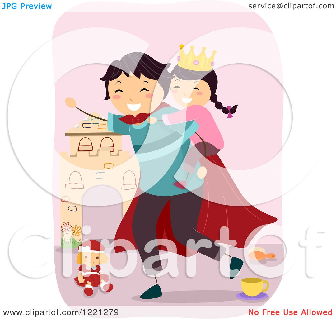 Clipart Of A Super Dad Giving His Princess Daughter A