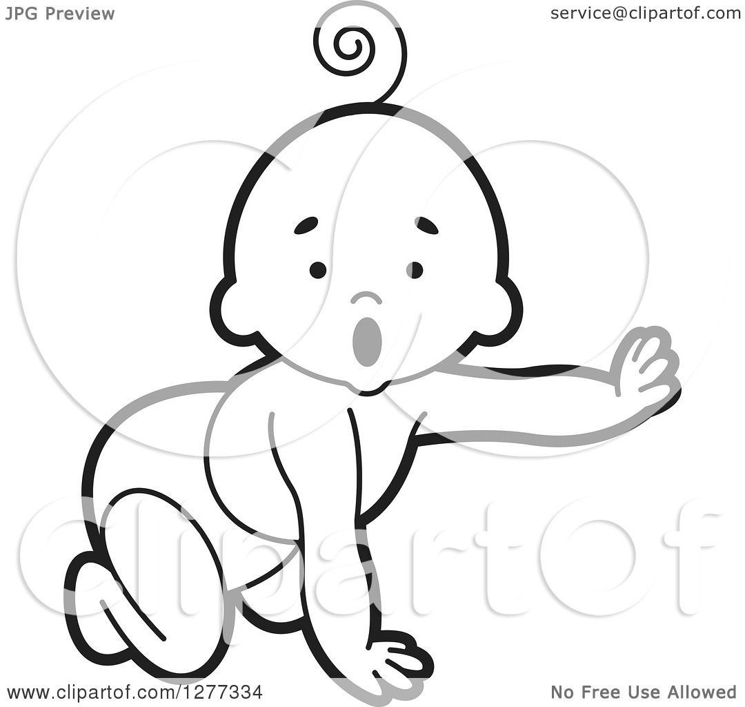 Clipart of a Surprised Black and White Baby Crawling in a Diaper ...