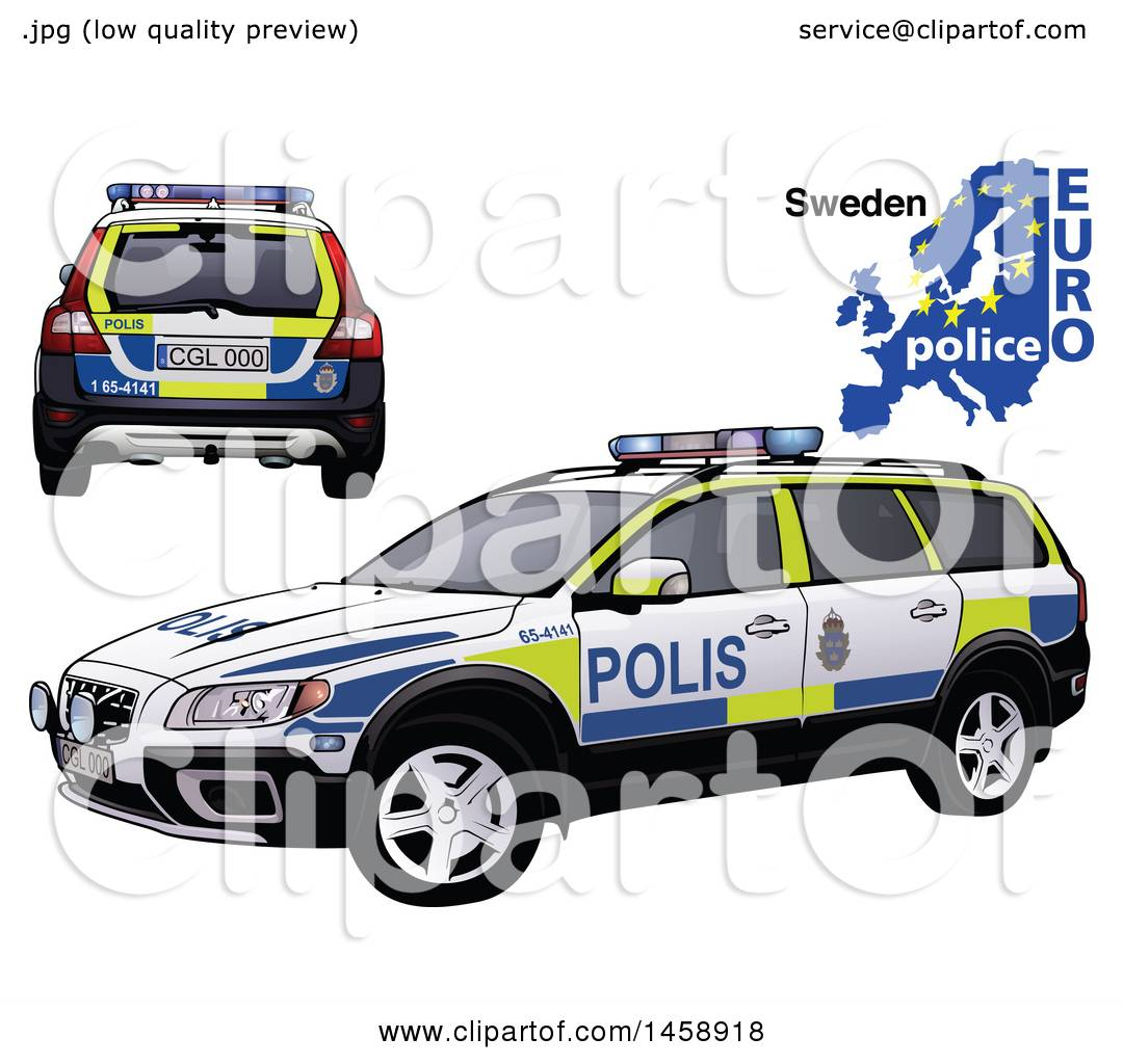 Clipart Of A Lithuanian Police Car With A Map And Euro Police Text