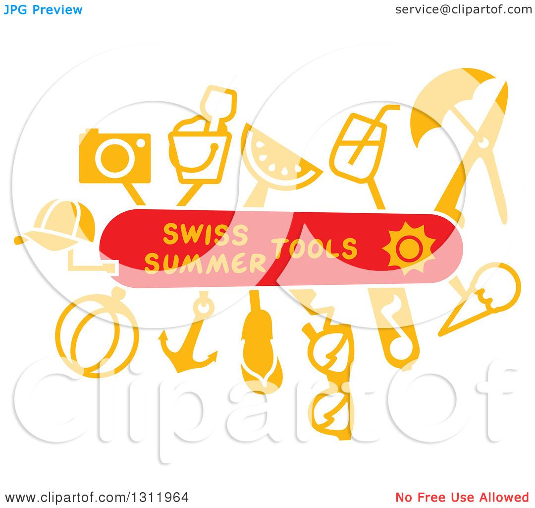 cf8f7bc04c9af3 Clipart Of A Swiss Army Knife With Summer Tools Royalty Free Vector  Illustration by Zooco