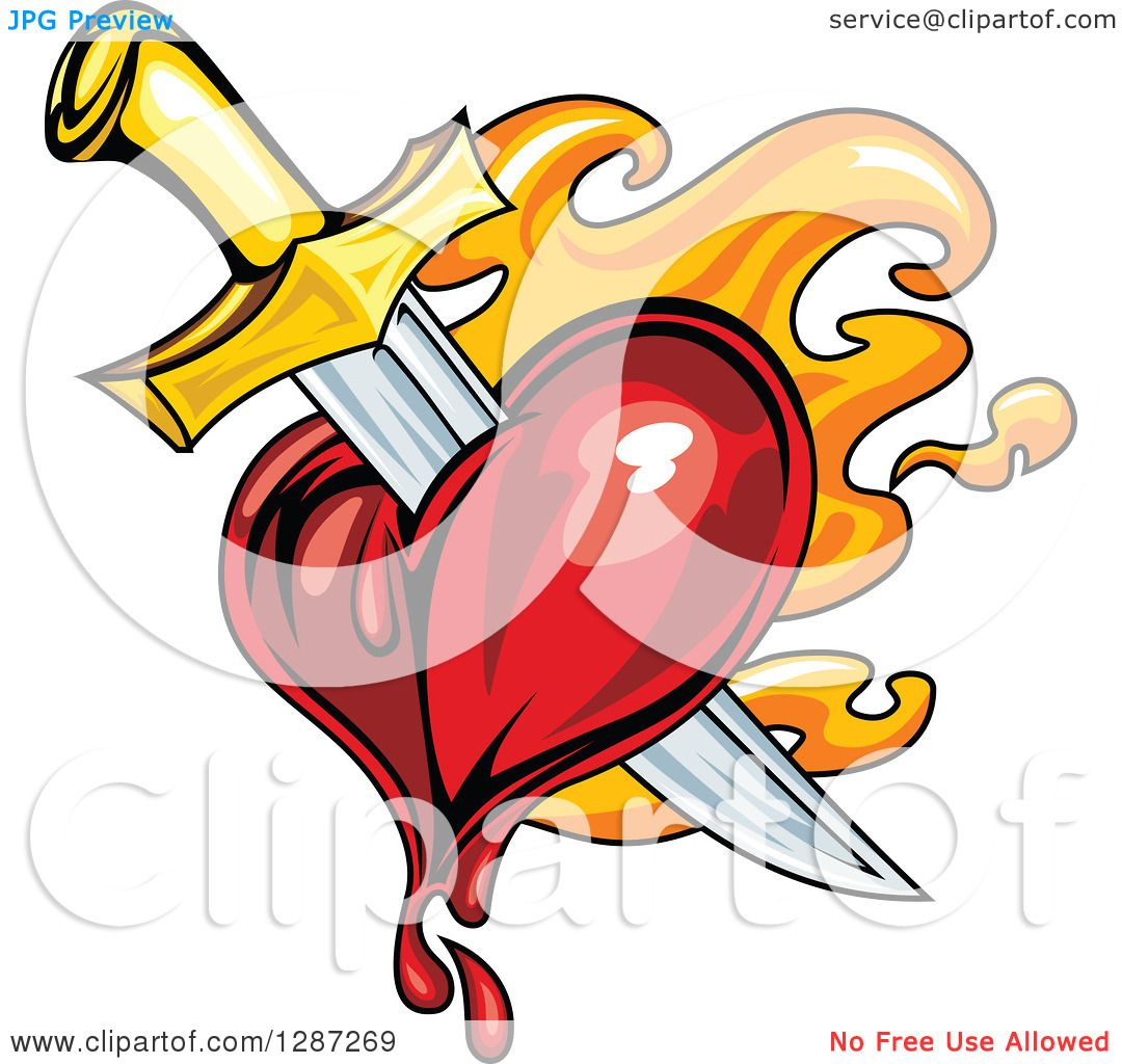 Clipart of a Sword Stabbing a Bleeding Heart over Orange Flames ...