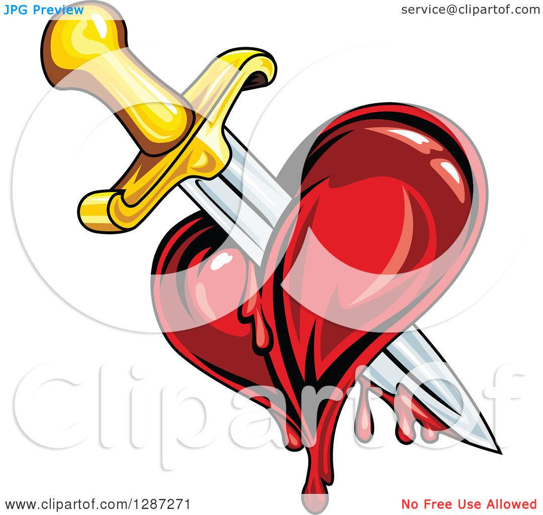 Clipart of a Sword Stabbing a Bleeding Heart - Royalty Free Vector ...
