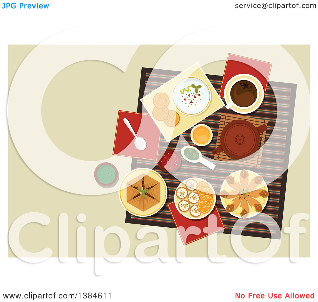 clipart of a table setting of arabic cuisine with chickpea
