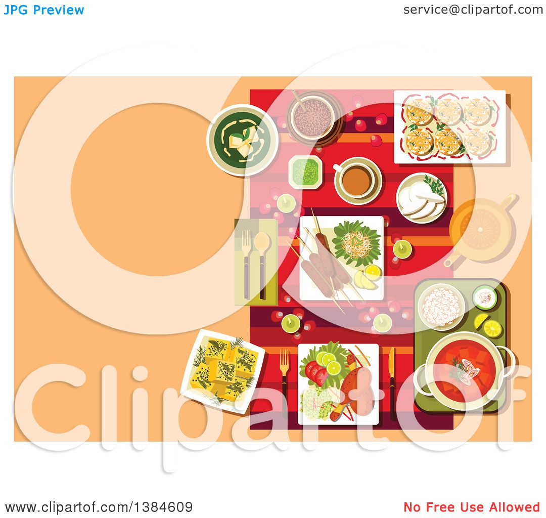 Clipart of a Table Setting of Indian Cuisine with Candles Rose Petals and Curry with Rice Kebab and Tandoori Chicken Legs Vegetables and Lemons ...  sc 1 st  Clipart Of & Clipart of a Table Setting of Indian Cuisine with Candles Rose ...