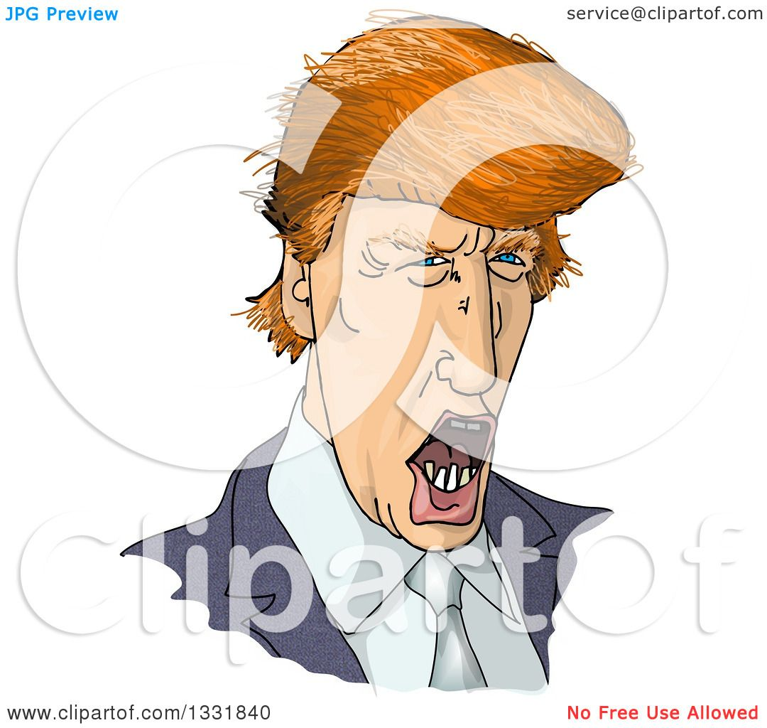 Clipart of a Talking Donald Trump Caricature - Royalty Free ...