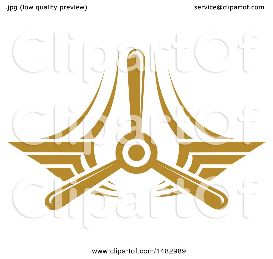 Clipart of a Tan Airplane Propeller and Wings Design