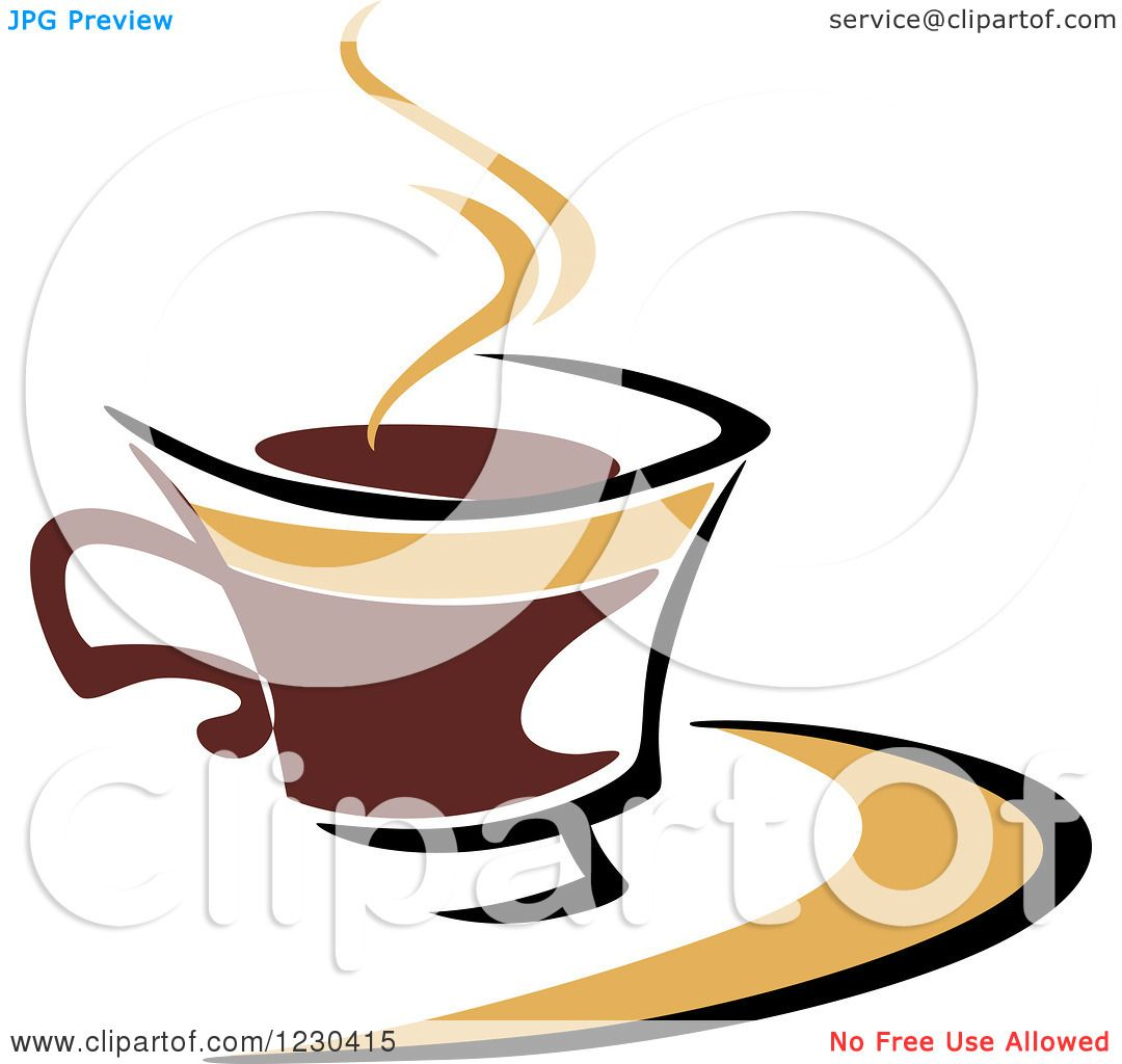 Clipart of a Tan and Brown Hot Steamy Coffee Cup 4 ...