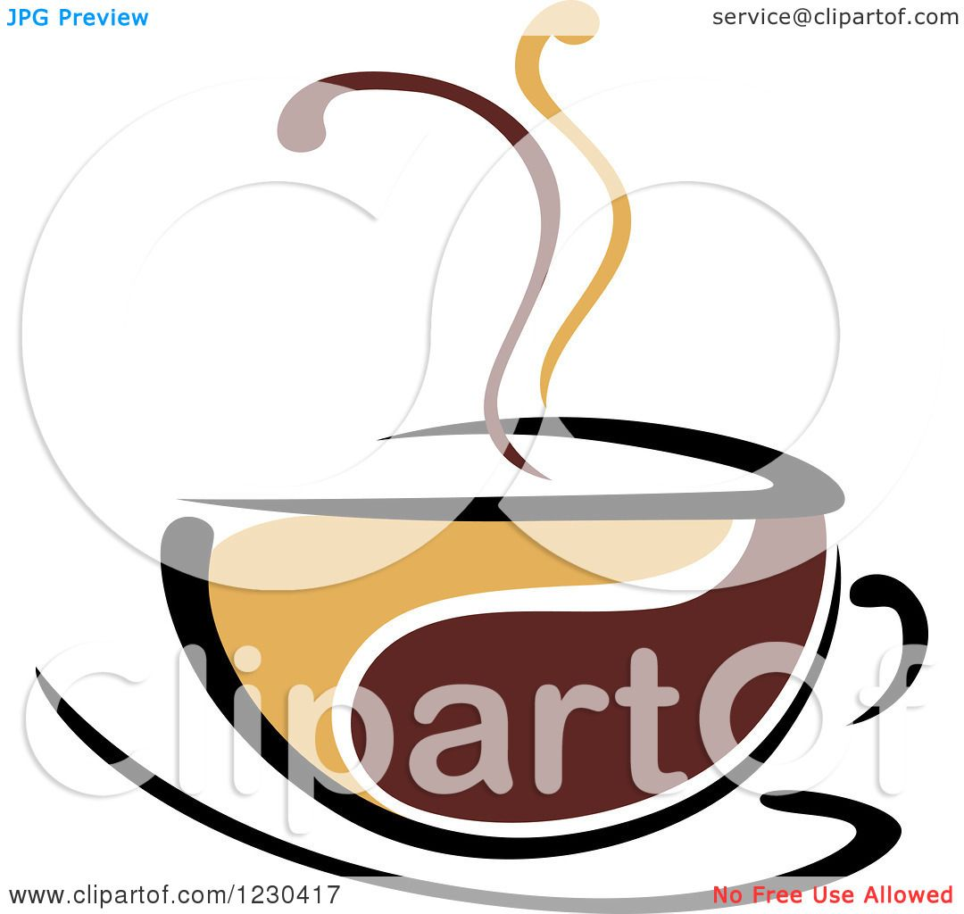 Clipart of a Tan and Brown Hot Steamy Coffee Cup 7 ...