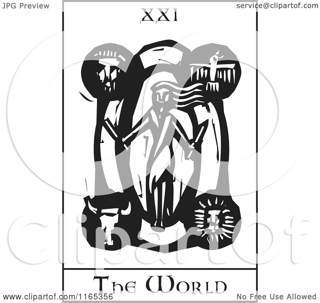 Clipart Of A Tarot Card Of The World Black And White Woodcut   Royalty Free  Vector Illustration By Xunantunich