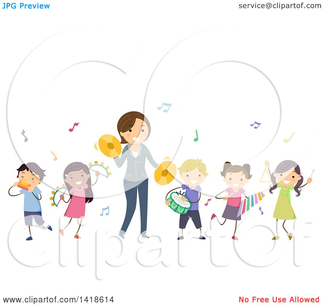 clipart of a teacher and students playing instruments in music class rh clipartof com music class clipart free Music Clip Art