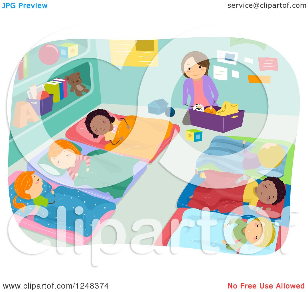 Clipart of a Teacher Cleaning While Students Take Nap Time ...Naptime Clipart Preschool