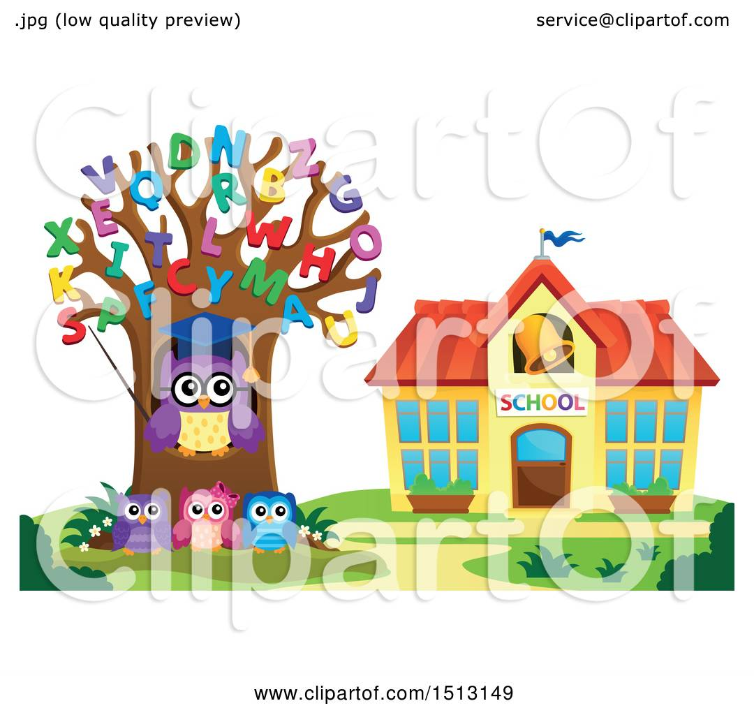Clipart of a Teacher Owl in an Alphabet Letter Tree and ...