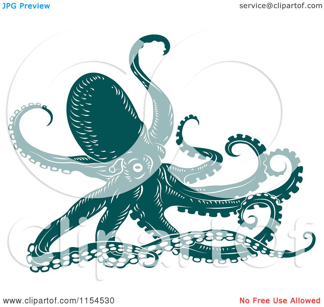 Clip Art Octopus Clipart of a teal octopus