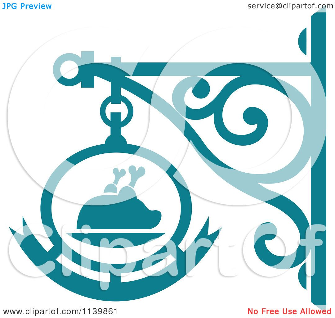 Clipart Of A Teal Restaurant Diner Shingle Sign 7 - Royalty Free ...