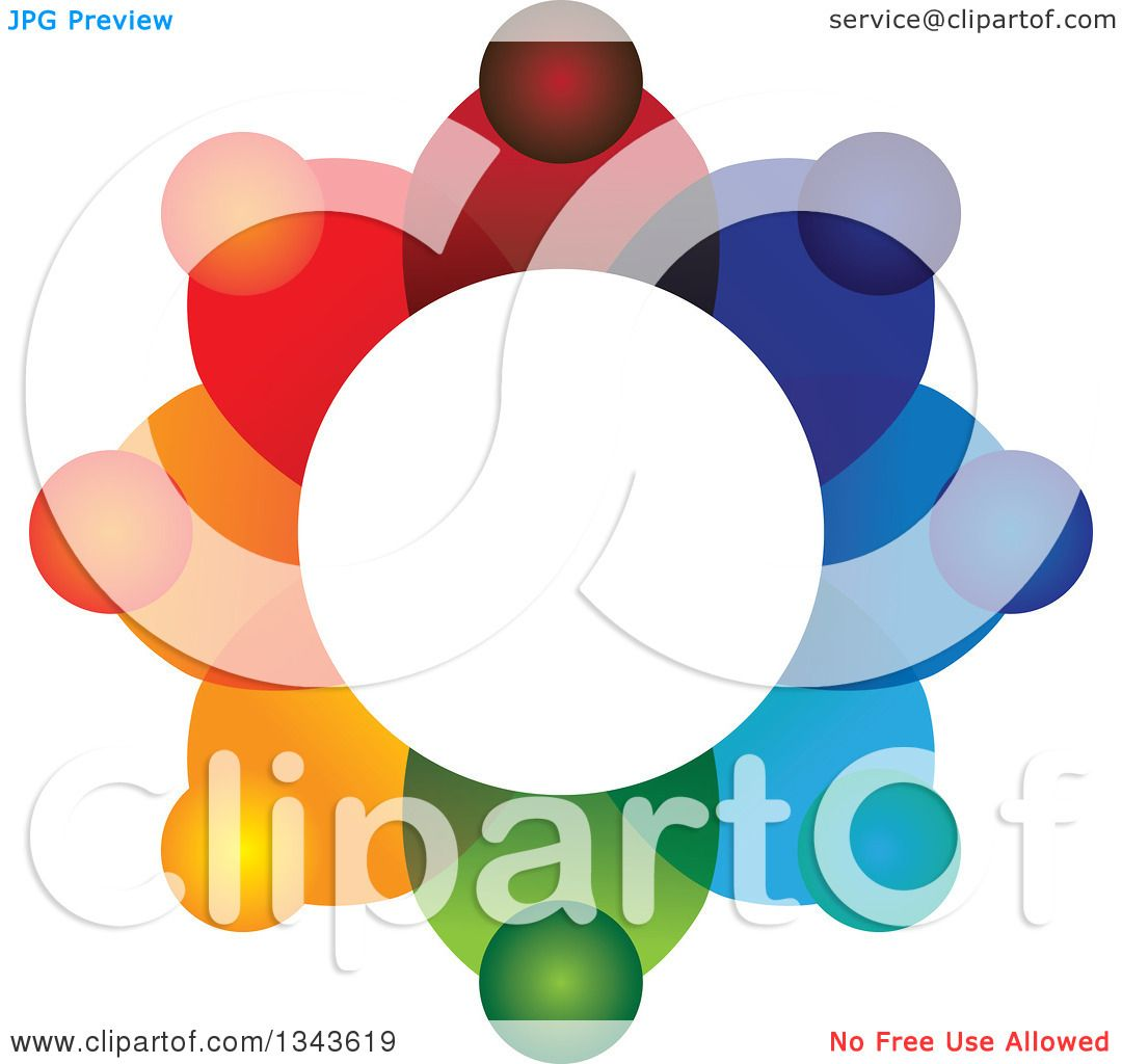 Clipart Of A Teamwork Unity Circle Of Colorful People 22