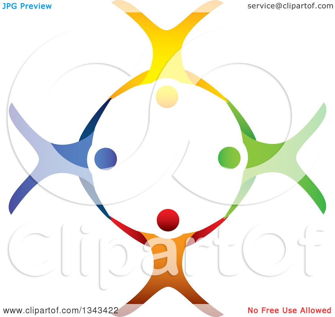 Clipart Of A Teamwork Unity Circle Colorful People