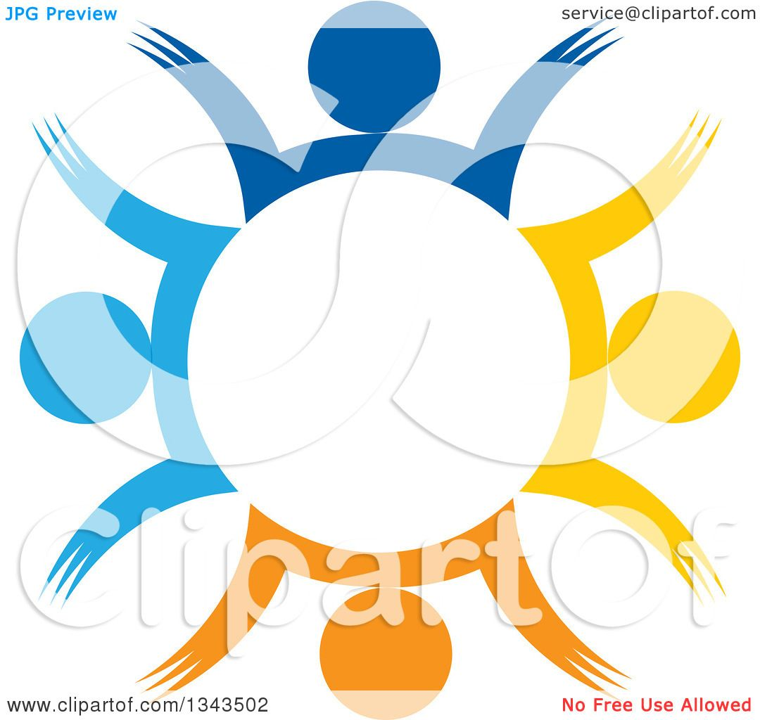 2228da1aacfe Clipart of a Teamwork Unity Circle of Colorful People Cheering or Dancing 47  - Royalty Free