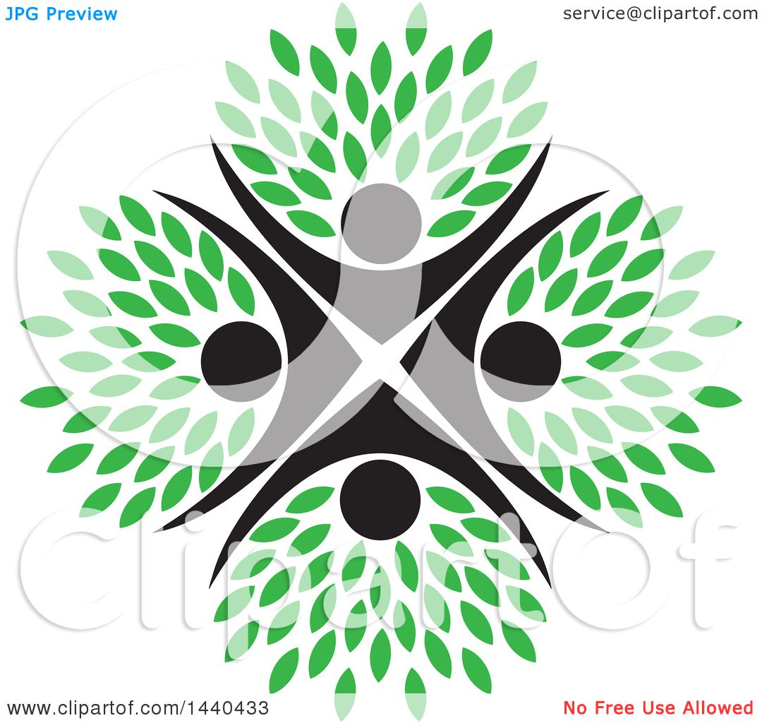 Clipart of a Teamwork Unity Group of People Forming a Tree with ...