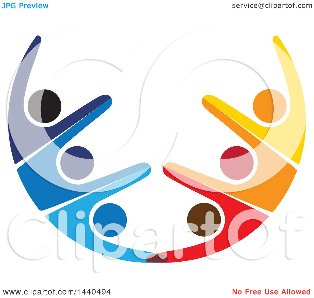 clipart of a teamwork unity half circle of colorful people dancing rh clipartof com  free teamwork clipart animated