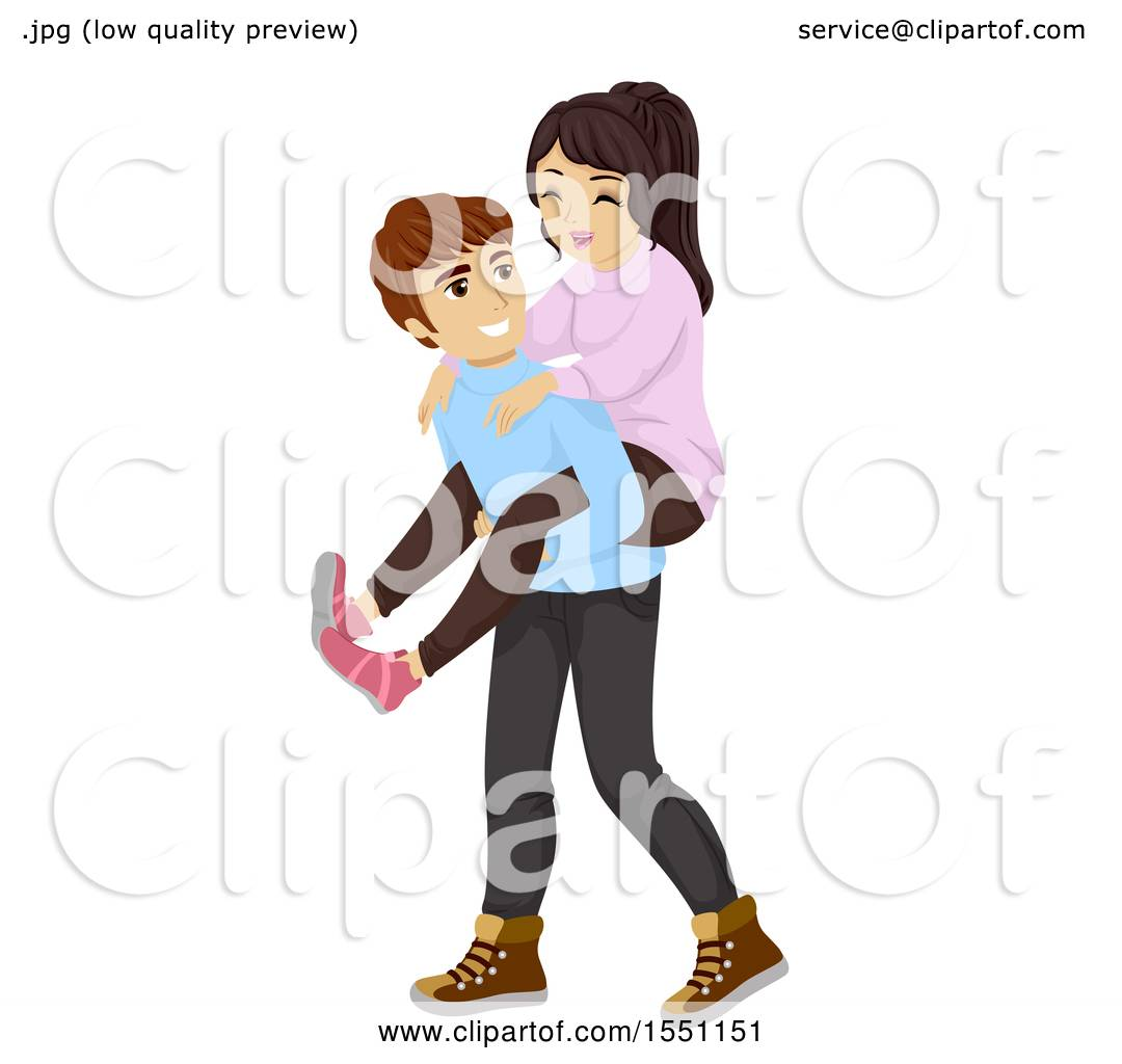 Clipart Of A Teen Boy Giving His Girlfriend A Piggy Back
