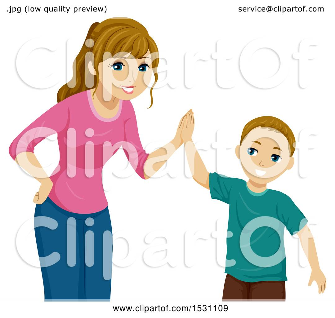 clipart of a teen girl giving her brother a high five royalty free rh clipartof com high five clipart black and white animated high five clipart