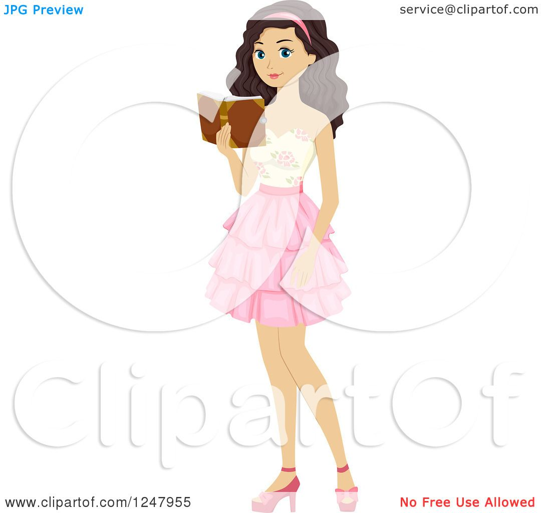 Clipart of a Teen Girl Reading