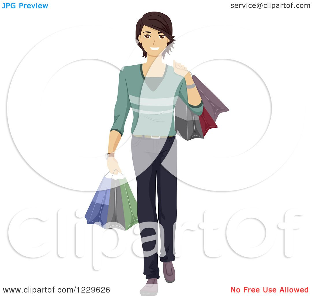 Clipart of a teenage boy carrying shopping bags royalty - Clipart illustration ...