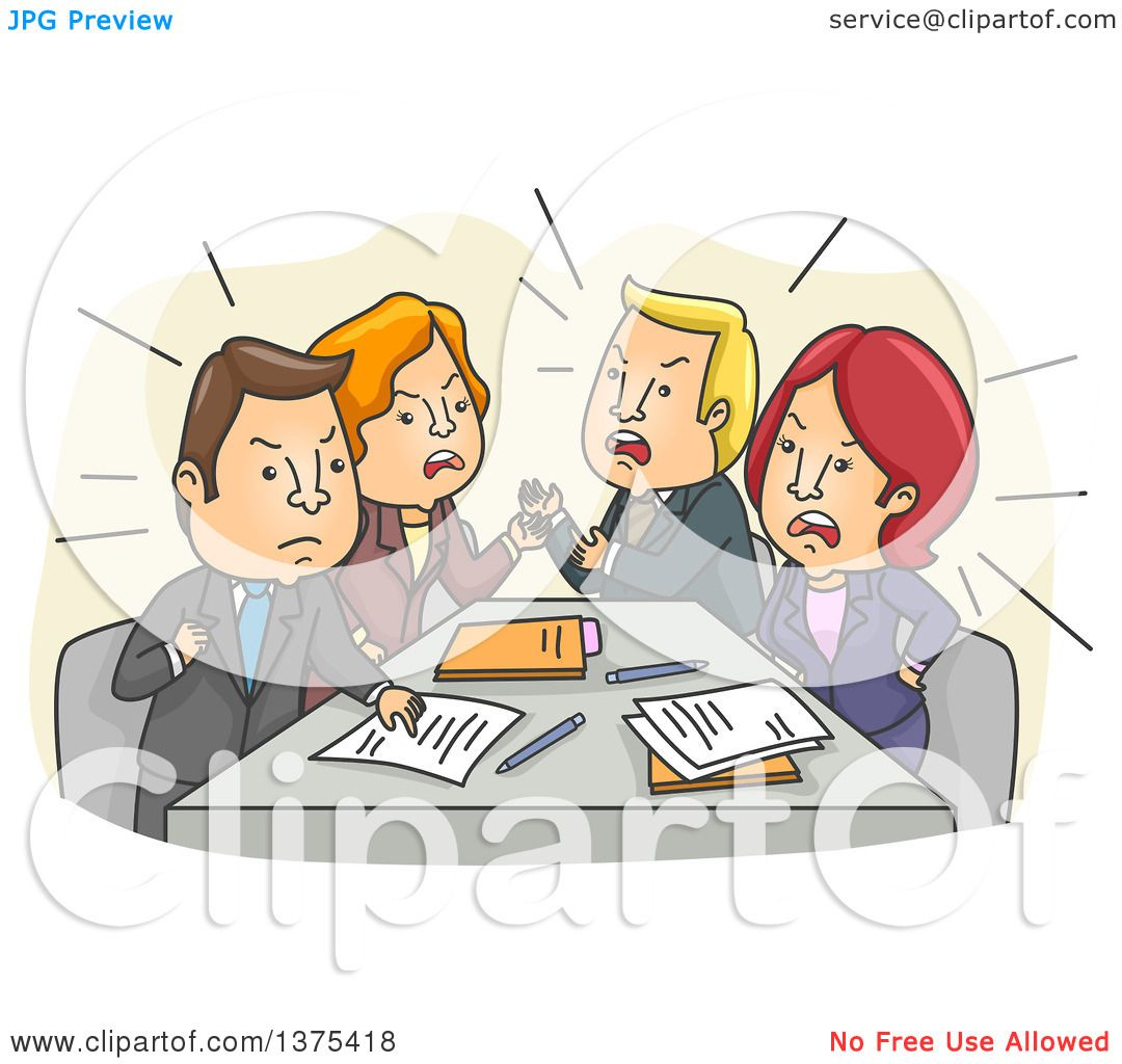 Clipart Of A Tense Meeting Of White Business Men And Women