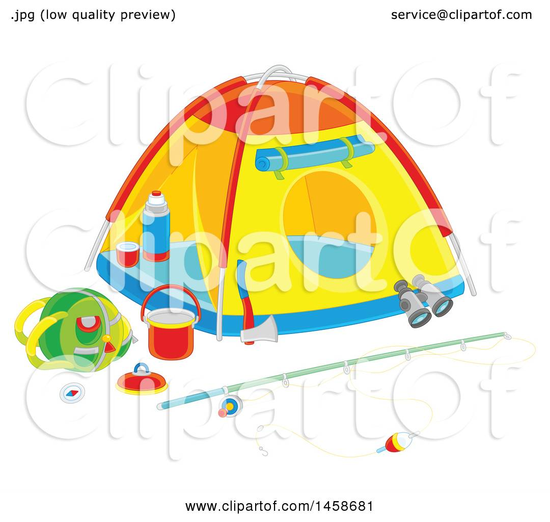 Tent With Fishing And Camping Gear Preview Clipart