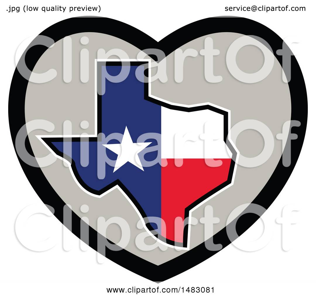 Clipart Of A Texas Flag State Map In Heart