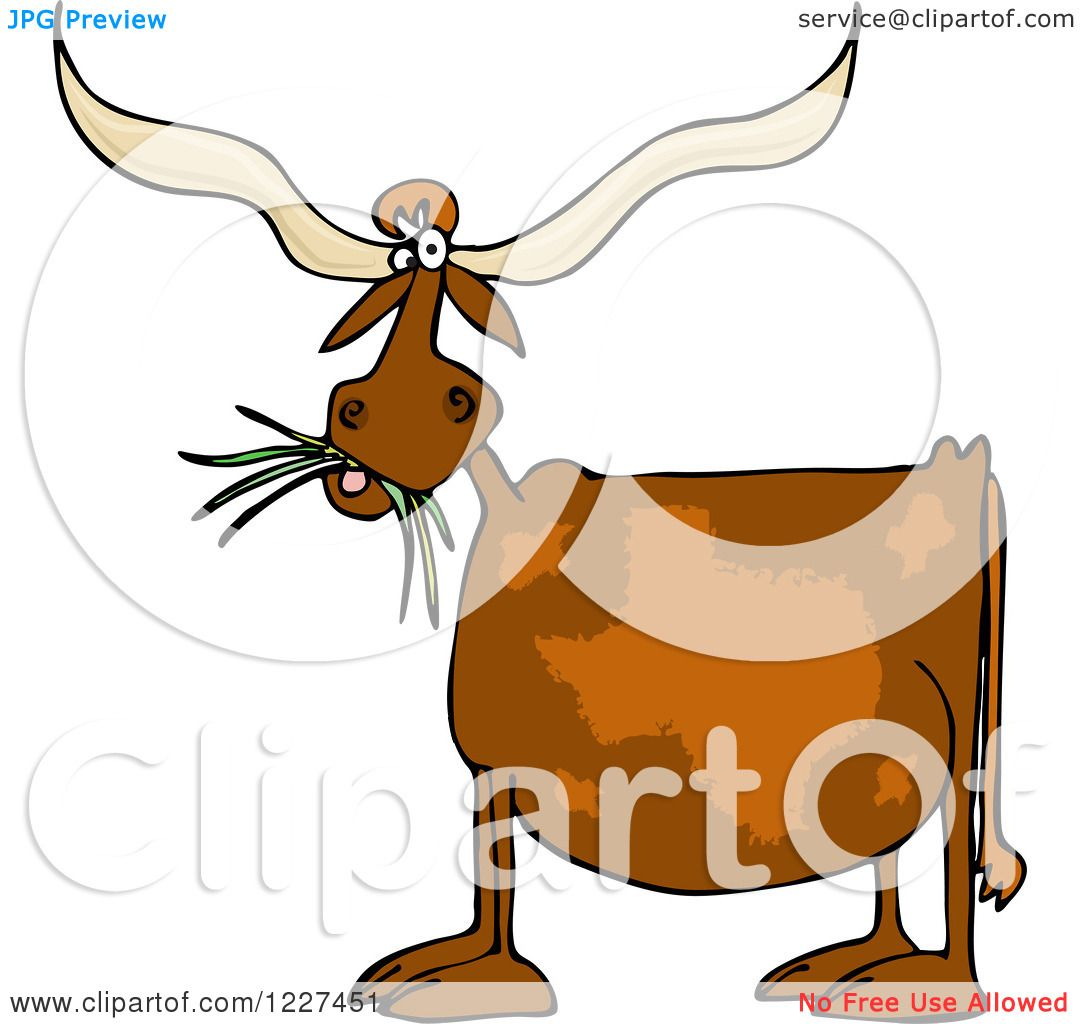 Clipart of a Texas Longhorn Cow Eating Grass - Royalty Free Vector ...