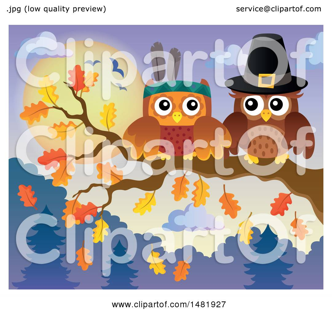 Clipart of a Thanksgiving Pilgrim and Native American Owl ...
