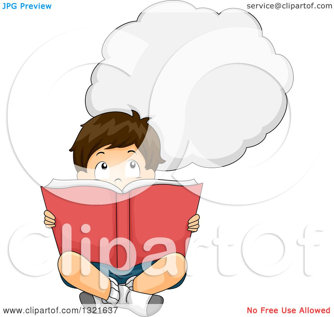Clipart of a Thinking Brunette White Boy Sitting on the ...