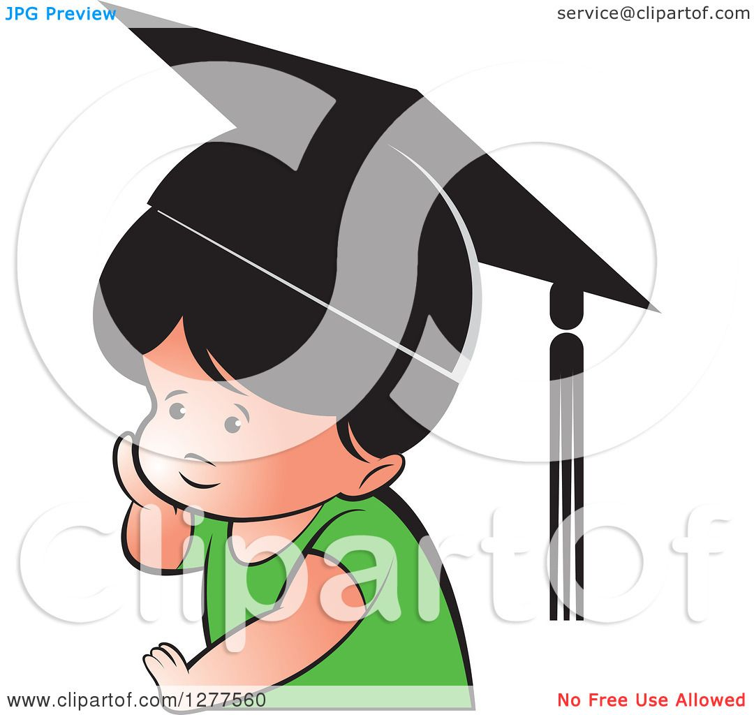 Clipart of a Thinking School Boy Wearing a Hat - Royalty Free ...