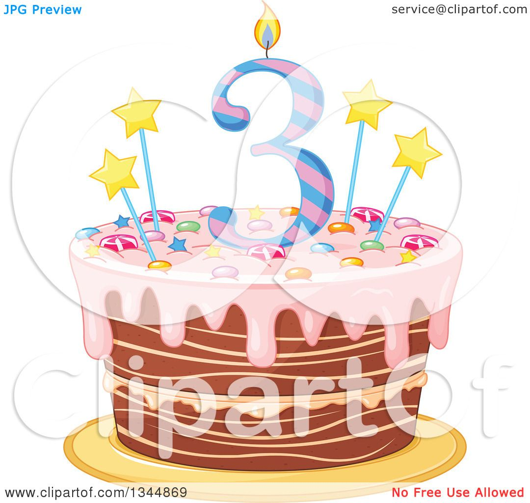 Clipart Of A Third Birthday Cake With A Number Candle
