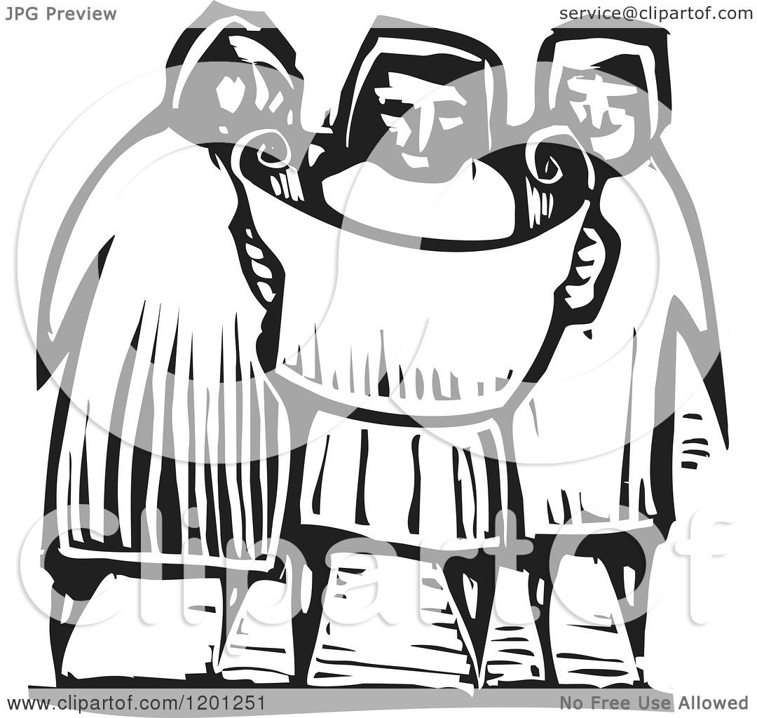 Clipart of a Three People Reading a Map or Scroll Black and White Woodcut - Royalty ...