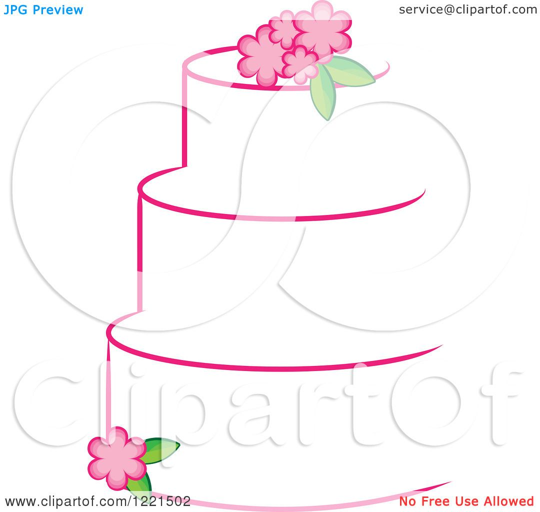 Clipart Of A Three Tiered White Cake With Pink Flowers Royalty Free