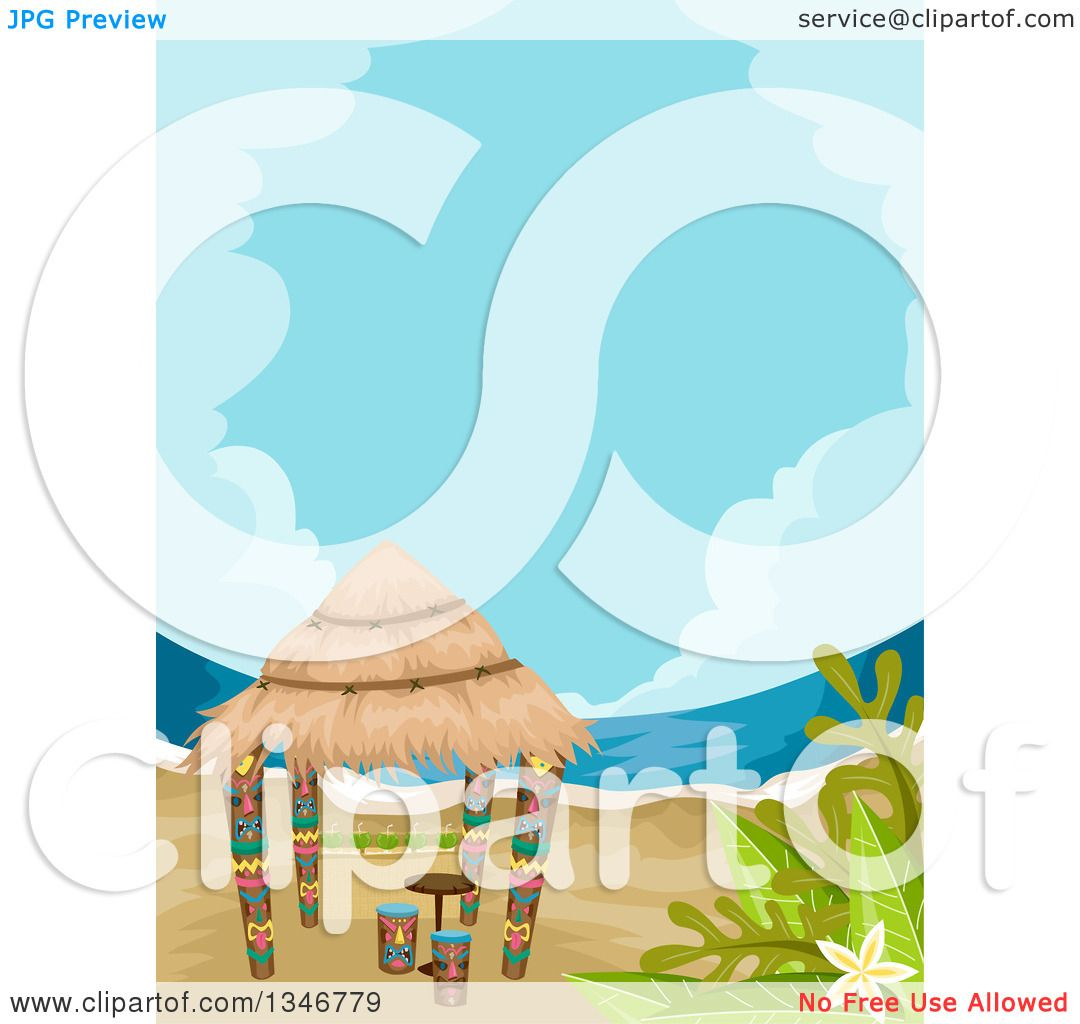 Clipart of a Tiki Hut on a Beach - Royalty Free Vector ...