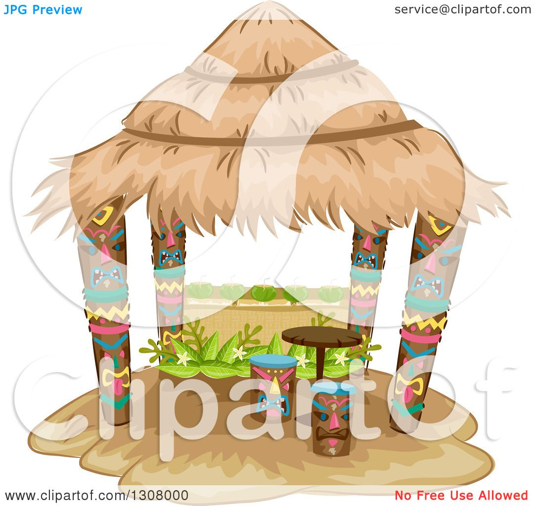 Clipart of a tiki hut with stools and a table royalty - Clipart illustration ...