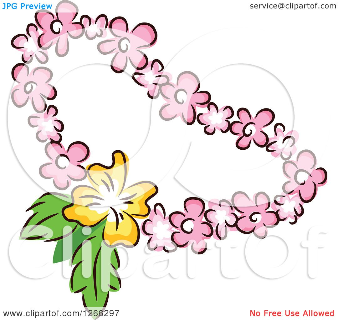 clipart of a tiki party pink and yellow floral lei royalty free rh clipartof com maile lei clip art flower lei clip art