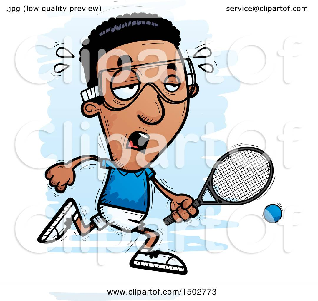 clipart of a tired african american man racquetball player royalty rh clipartof com