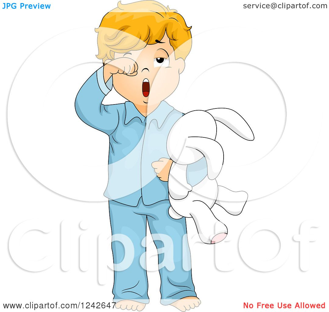 Clipart of a Tired Boy Rubbing His Eyes and Yawning in His Pajamas ...